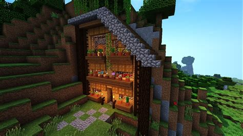 hill side minecraft survival house  minecrafthouse