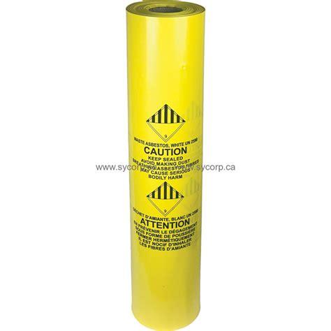 asbestos yellow disposal bag     mil roll