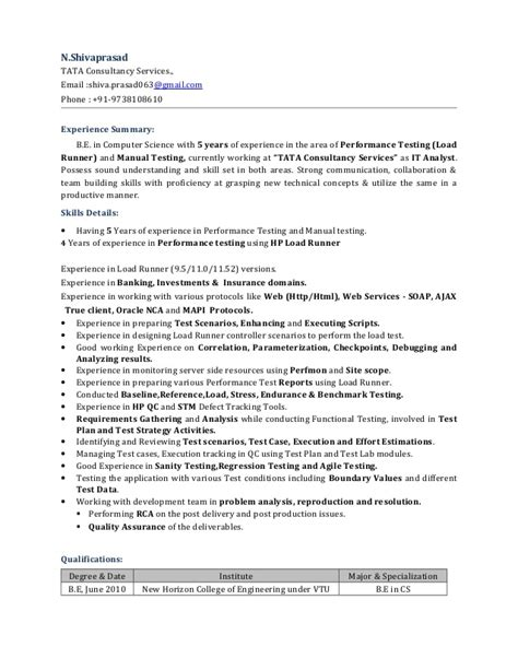 performance tester resume with jmeter roles and