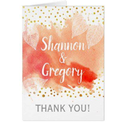 coral watercolor leaves confetti wedding   card
