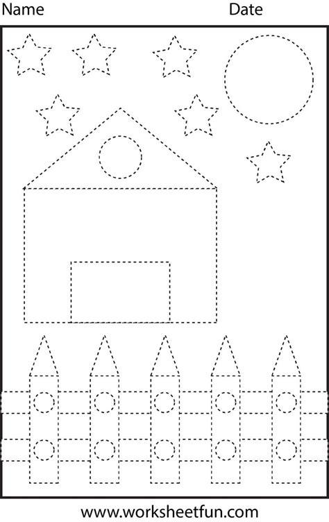shape tracing preschool worksheets pinterest