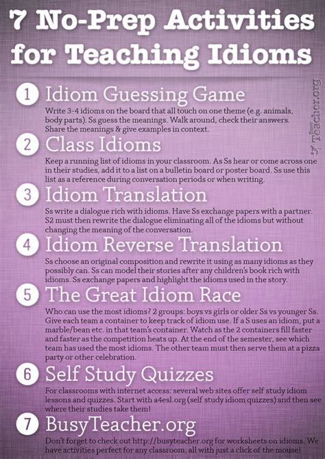 prep activities  teaching idioms poster