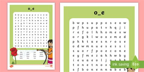 Split 'oe' Digraph Differentiated Word Search  Vowel Diagraph, Reading