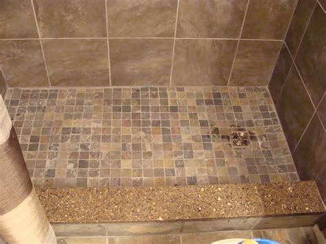 Mosaic Tile Shower Floor - slate mosaic tiles on shower floor quartz shower curb