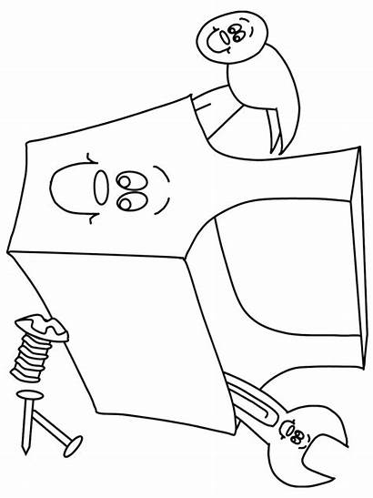 Coloring Construction Pages Tool Box Sheets Worker