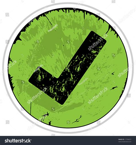 vector green grunge check mark button stock vector