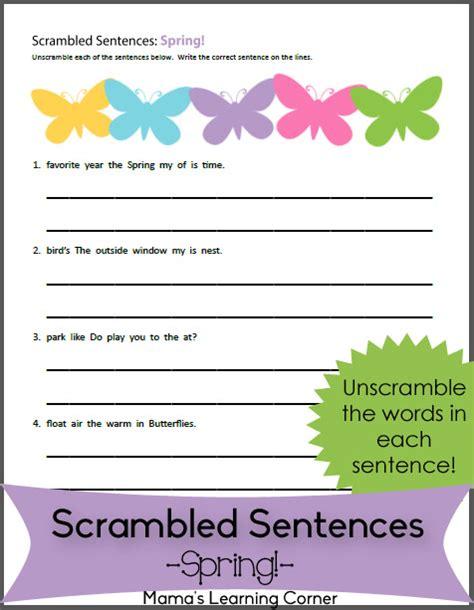 spring scrambled sentences worksheet mamas learning