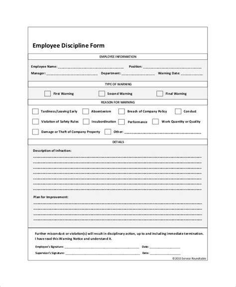 employee discipline form   word  documents