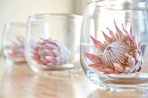 Tischgestecke In Glas by Proteas In Glass Vases Colour Scheme Taste Wedding