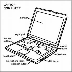 clip art computer laptop bw labeled i abcteachcom With pc diagram image