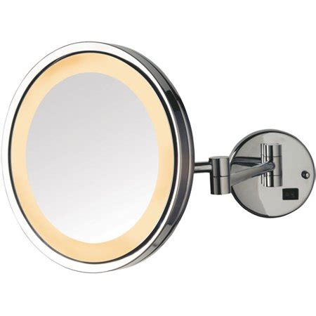 jerdon 9 5 quot led halo lighted wall mount mirror with 5x