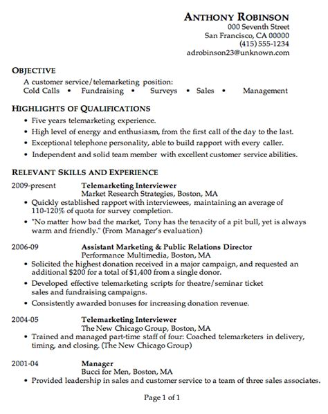 Great Resume Sles For Customer Service by Resume Sle Customer Service Telemarketing