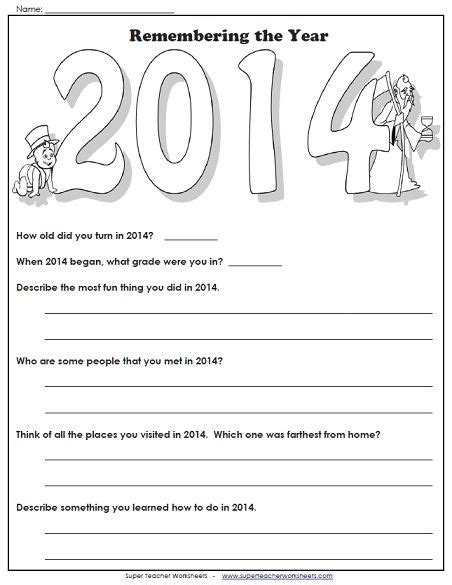lets remember 2014 with this fun new year s worksheet