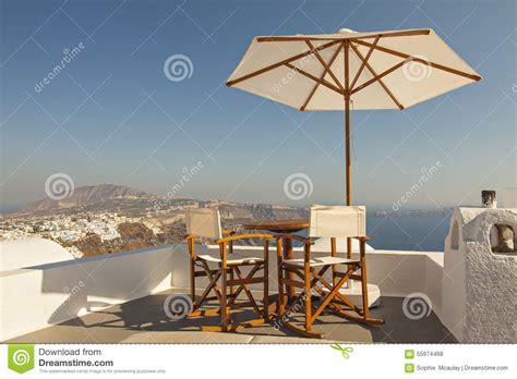 Santorini Ocean View Sun Terrace Stock Photo Image 55974468
