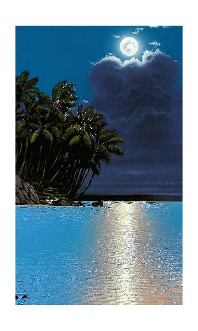 Nature Gifs Moon Moonlight Sky Water Animated