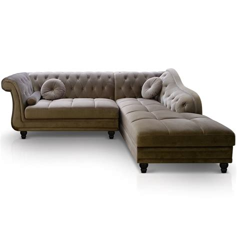 canapé d angle chesterfield canap d angle droit chesterfield velours bristol taupe