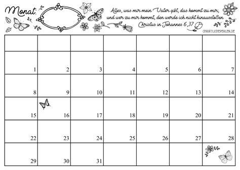 monatskalender zum ausdrucken christliche perlen