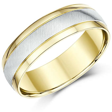 18ct two colour gold wedding ring court shape 6mm band ebay