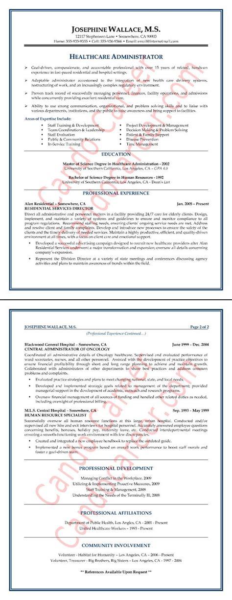 healthcare administrator resume sle resume tips