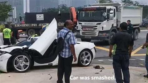 Mclaren Mp4-12c And Motorcycle Smashed By Van At Marina