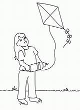 Coloring Kite Flying Pages Popular sketch template