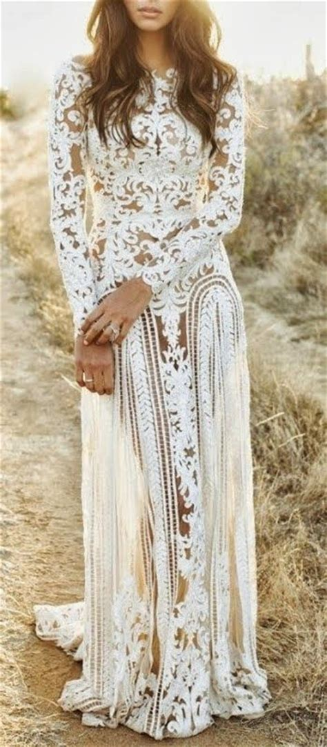 bohemian white lace wedding dress pictures