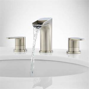 Pagosa widespread waterfall faucet bathroom sink faucets for Waterfall faucets for bathroom sinks