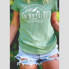 Go Outside Oneck Short Sleeve Tshirt Bellelily