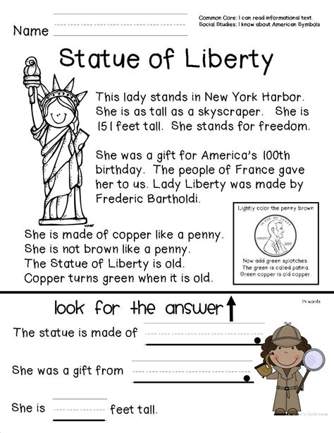 Reading Comprehension Sheet About The Statue Of Liberty