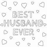 Husband Coloring Ever Vector Hand Drawn Text Coloritura Cuori Migliore Testo Disegnato Marito Sempre Wife Mano Pagina Hearts Getekende Ooit sketch template