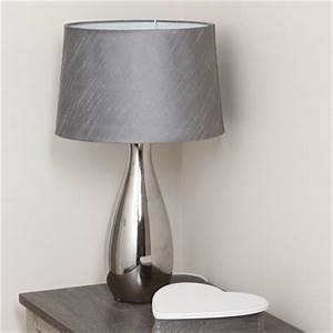 silver tall ceramic table lamp with matching shade With silver ceramic floor lamp