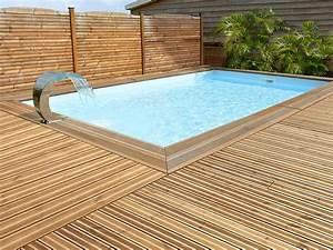 Piscine Semi Enterrée Rectangulaire : piscine bois ma va rectangle 500 avec escalier d 39 angle ~ Zukunftsfamilie.com Idées de Décoration