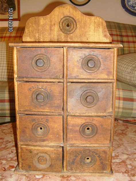 antique wood spice rack cabinet wall mount  drawers