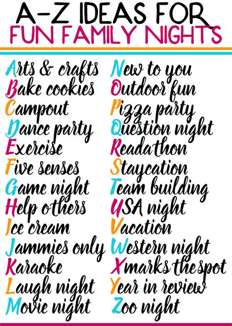 A Z Fun Family Activities to Do At Home Family fun night