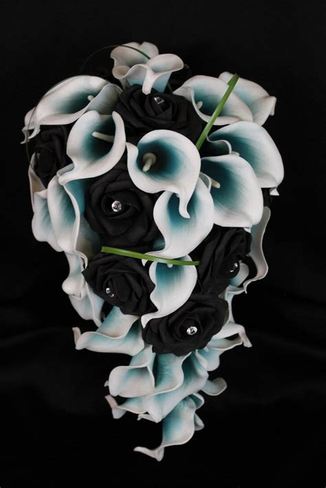 cascading black rose teal calla lily bouquet detail