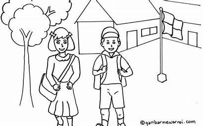 Sekolah Ke Kembali Gambar Mewarnai Anak Kartun