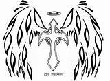 Coloring Angel Wing Wings Pages Cross Popular sketch template