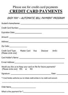 credit card authorization form template credit card
