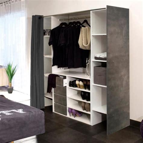 dressing 2 colonnes meuble 4 tiroirs rideau gris achat vente penderie mobile dressing 2