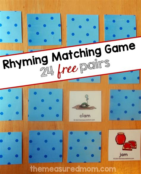 matching game try this free rhyming the measured