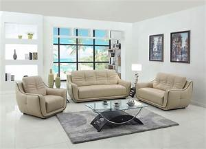 2088, Modern, Living, Room, Set, In, Beige, Leather, By, United