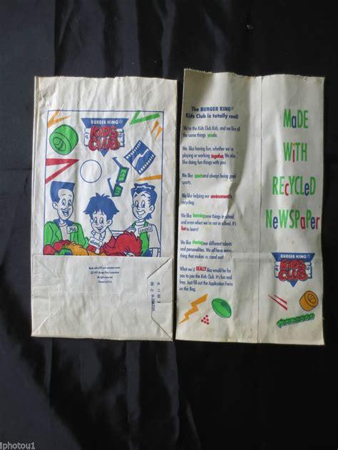 Burger King Kids Club bags from 1991 : nostalgia