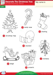 decorate the christmas tree lyrics decorate the tree worksheet vocabulary coloring simple