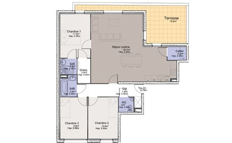 plan de maison plain pied 3 chambres gratuit plan appartement t3 avec terrasse