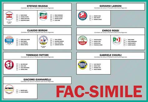 facsimile delle schede elettorali elezioni istituzioni