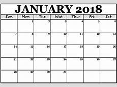 Monthly Printable Calendar January 2018 – 2018 Calendar
