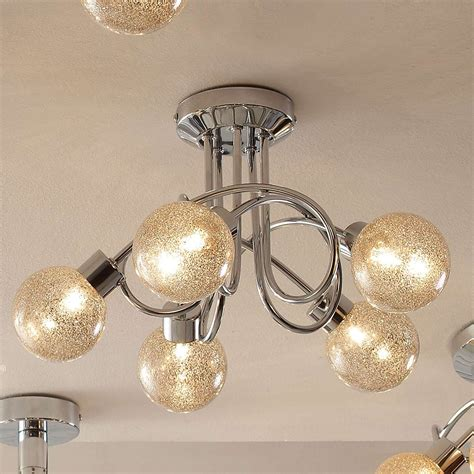 glitter 5 light chrome ceiling fitting dunelm