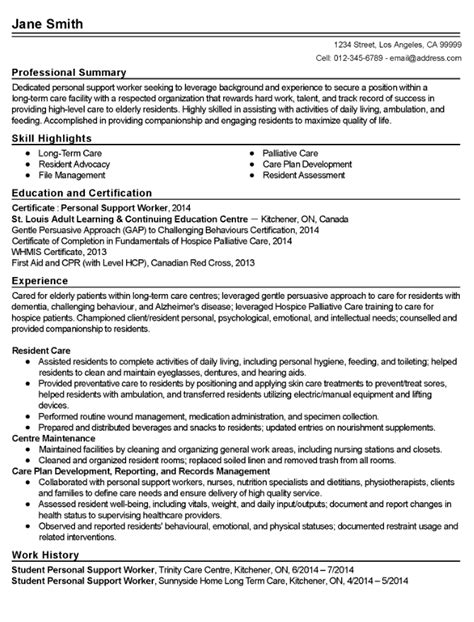 Sle Resume For Personal Care Worker by Psw Personal Support Worker Resume Sles Ipasphoto