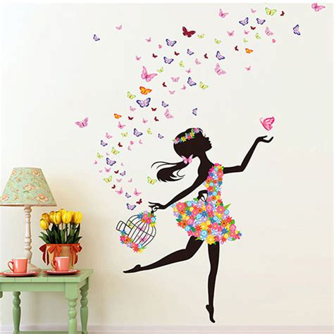stickers muraux chambre ado fashion modern diy decorative mural pvc butterfly
