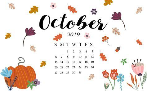 cute october  calendar pink designs